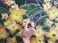 Silk painting with natural dyes