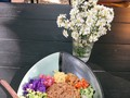 Thai shrimp paste fried rice with flower salad