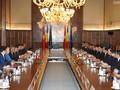 PM Rumania, Viorica Dancila memimpin acara penyambutan kepada PM Vietnam,Nguyen Xuan Phuc