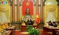 Presiden Vietnam, Tran Dai Quang menerima  delegasi  Pengurus  Besar Sangha Buddha Vietnam