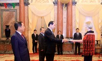 陈大光会见前来递交国书的各国驻越大使
