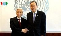 KPV-Generalsekretär Nguyen Phu Trong trifft UN-Generalsekretär Ban Ki-moon