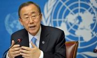 UN-Generalsekretär Ban Ki-moon verabschiedet sich von Mitarbeitern der Uno