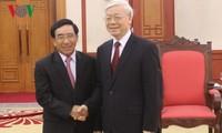 Tổng Bí thư Nguyễn Phú Trọng tiếp Đoàn Đại biểu Đảng Nhân dân Cách mạng Lào