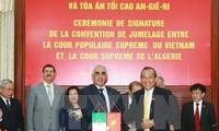 Chánh án Tòa án nhân dân tối cao Trương Hòa Bình tiếp đoàn Tòa án Algeria