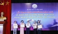 Trao giải thưởng báo chí về khoa học và công nghệ năm 2016