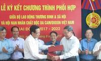 Berkoordinasi membantu dan membela kepentingan dari para korban agen oranye/dioxin Vietnam