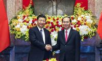Pres. Vietnam, Tran Dai Quang melakukan pembicaraan dengan Sekjen KS PKT, Presiden Xi Jinping