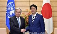 联合国秘书长古特雷斯与日本首相安倍晋三共同强调对朝实施制裁
