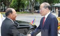 Chủ tịch Quốc hội Campuchia Samdech Heng Samrin  tiếp Chủ tịch Quốc hội Nguyễn Sinh Hùng