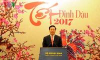 รองนายกรัฐมนตรีและรัฐมนตรีต่างประเทศพบปะกับตัวแทนสำนักงานสื่อมวลชนเวียดนาม