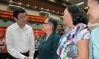 Chủ tịch nước Trương Tấn Sang tiếp xúc cử tri Quận 4, Thành phố Hồ Chí Minh