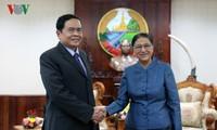 Chủ tịch Quốc hội Lào tiếp Đoàn đại biểu cấp cao Ủy ban Trung ương Mặt trận Tổ quốc Việt Nam