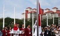 พิธีเชิญธงประเทศที่เข้าร่วมการแข่งขันกีฬาซีเกมส์ขึ้นสู่ยอดเสา