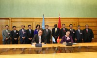Vizepremierminister Vuong Dinh Hue arbeitet mit Vertretern der internationalen Organisationen