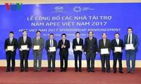 ປະກາດບັນດານັກອຸປະຖຳໃຫ້ປີ APEC ຫວຽດນາມ 2017