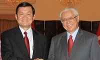 Staatspräsident Sang trifft seinen singapurischen Amtskollegen Keng Yam