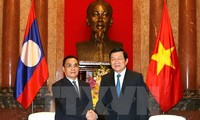 ผู้นำของรัฐและรัฐบาลเวียดนามให้การต้อนรับนายกรัฐมนตรีลาว ทองสิง ทำมะวง