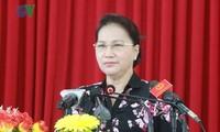 阮氏金银与隆安省选民接触