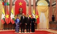 В Ханое прошел торжественный прием в честь президента Мьянмы и его супруги