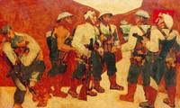"""Tranh sơn mài """"Kết nạp Đảng ở Điện Biên Phủ"""" của họa sĩ Nguyễn Sáng: khúc tráng ca của người lính"""
