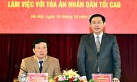 Выонг Динь Хюэ провел рабочую встречу в Народном верховном суде по вопросу реформы зарплаты