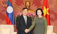 越南国会主席阮氏金银会见老挝国会副主席宋潘