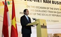 Staatspräsident Tran Dai Quang nimmt am Vietnam-Singapur-Unternehmensforum teil