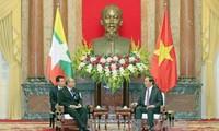 越南国家主席陈大光会见缅甸联邦议会议长兼民族院议长曼温凯丹