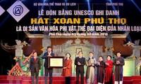 Urkunde für Xoan-Gesang in Phu Tho als immaterielles Kulturerbe der Menschheit ausgezeichnet
