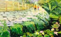 Lotus painting exhibition in Hanoi's Old Quarter