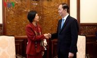 Presidente de Vietnam recibe a embajadoras de Canadá y Bélgica