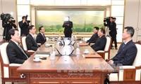 韩朝商定在平昌冬奥会开幕式上举统一旗共同入场