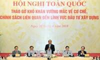 Premierminister Nguyen Xuan Phuc leitet Sitzung zur Lösung der Schwierigkeiten im Bauwesen