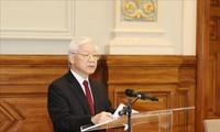 Pimpinan berbagai negara dan partai luar negeri mengucapkan selamat kepada Sekjen KS PKV Nguyen Phu Trong yang terpilih menjadi Presiden Vietnam