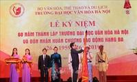 Deputi PM Viet Nam, Vu Duc Dam menghadiri Upacara peringatan ultah ke-60 berdirinya Sekolah Tinggi Kebudayaan Ha Noi