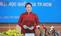 Ketua MN Vietnam, Nguyen Thi Kim Ngan melakukan kunjungan kerja di Universitas Nasional Kota Ko Chi Minh