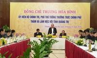 Deputi Harian PM Vietnam, Truong Hoa Binh melakukan temu kerja di Provinsi Quang Tri