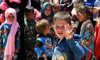 Menandatangani permufakatan tentang pelindungan anak-anak dalam bentrokan di Suriah