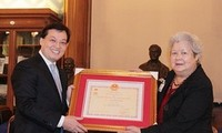 Insignia for the People's Health awarded to Geneviève Deyme