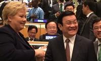 President Truong Tan Sang meets Norwegian Prime Minister Erena Solberg