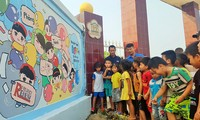Messages from landmine murals at Cua Viet preschool