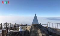 Montaña Fansipan ataviada por la nieve