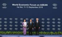 WEF-ASEAN2018に出席する指導者らの歓迎式