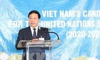 Deputi PM, Menlu Viet Nam, Pham Binh Minh memimpin penggerakan  terhadap negara-negara  untuk mendukung Viet Nam mencalonkan diri menjadi Anggota Tidak Tetap  DK PBB