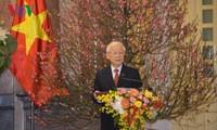 Sekjen, Presiden Viet Nam, Nguyen Phu Trong   mengucapkan selamat Hari Raya Tet kepada para pemimpin Partai, Negara,  rakyat   dan para prajurit  seluruh negeri