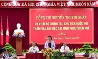 Ketua MN Viet Nam, Nguyen Thi Kim Ngan melakukan temu kerja dengan pimpinan Provinsi Thua Thien-Hue
