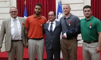 Passengers awarded Legion d'honneur for foiling terror attack on Thalys train