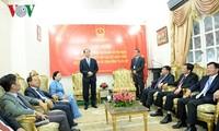 Le président Trân Dai Quang rencontre le personnel de l'ambassade vietnamienne en Égypte