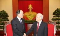 チョン党書記長 中国共産党の代表団と会見